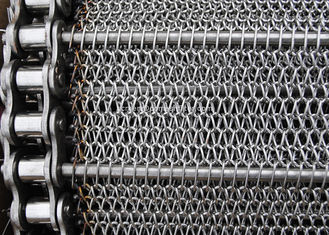 Stainless Balanced Weave Wire Mesh Conveyor Belt With Chain , 10 - 30m / Roll